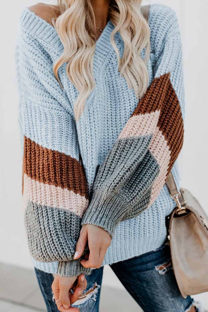 Florcoo V-Neck Lantern Sleeve Striped Color-Block Sweater