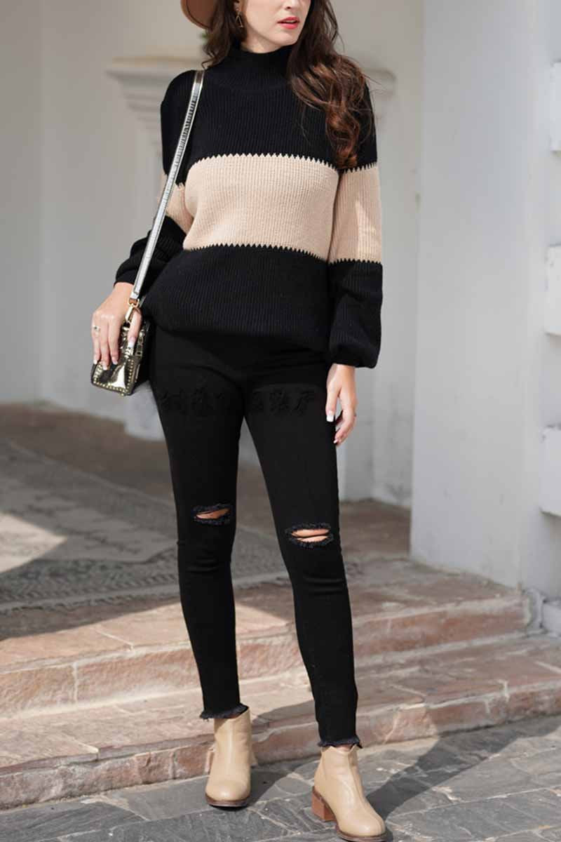 Florcoo Loose Stripe Knitted Sweater