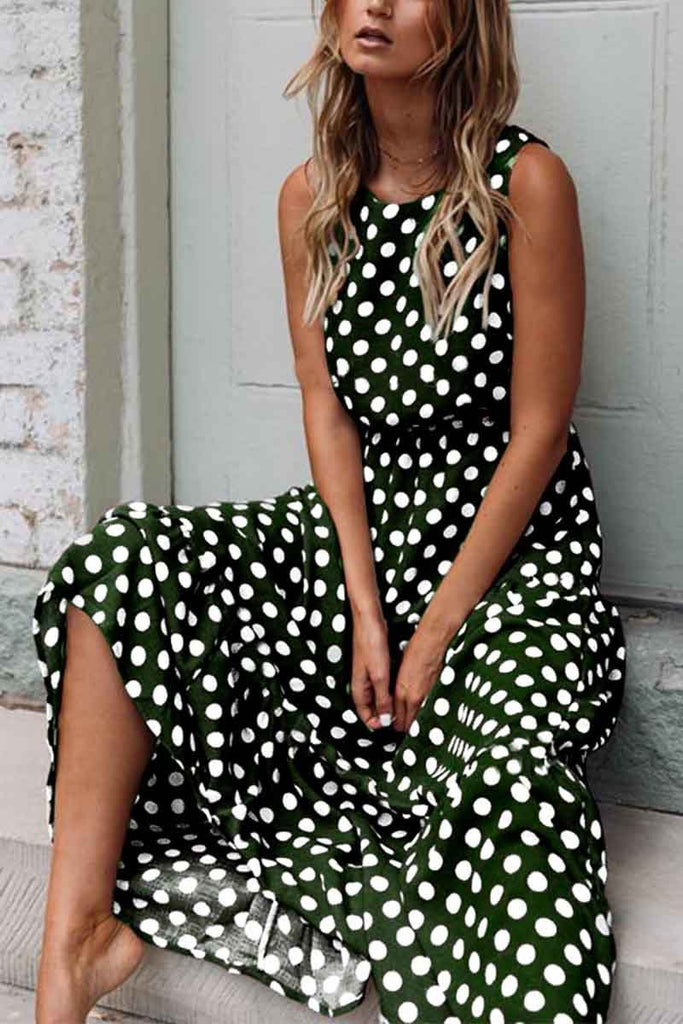 Florcoo Polka Dot Round Neck Dress(5 colors)