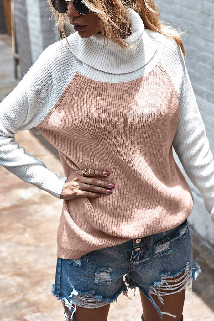Florcoo Contrasting High Neck Solid Sweater