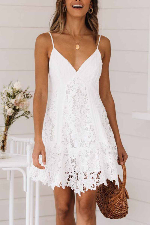Florcoo Sexy Lace Sling Halter Mini Dresses