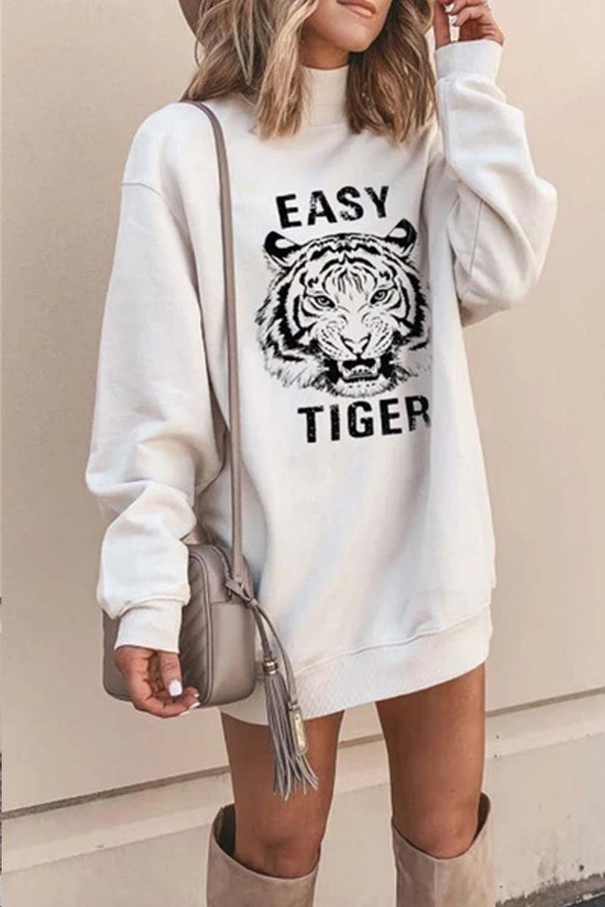 Florcoo Tiger Printed White Mini Dress (2 Colors)