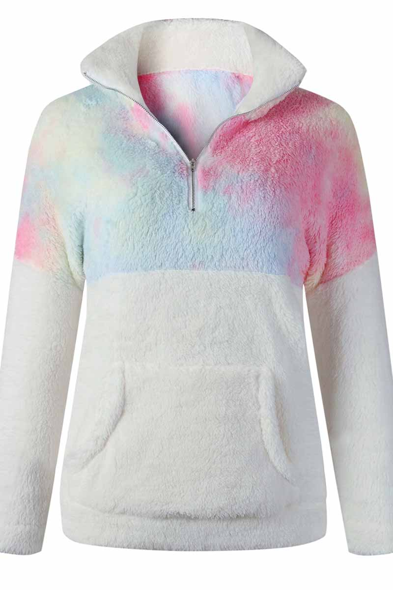 Florcoo Tie-dye Stitching Plush Top With Pockets