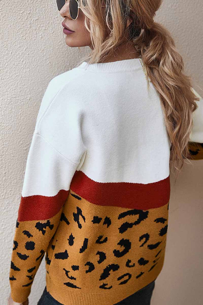 Florcoo Leopard  Splice Contrast O-neck Sweater