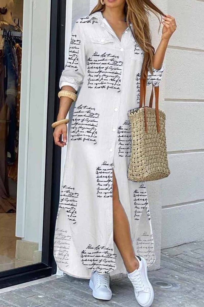 Florcoo Sexy Letter Blouse Maxi dress