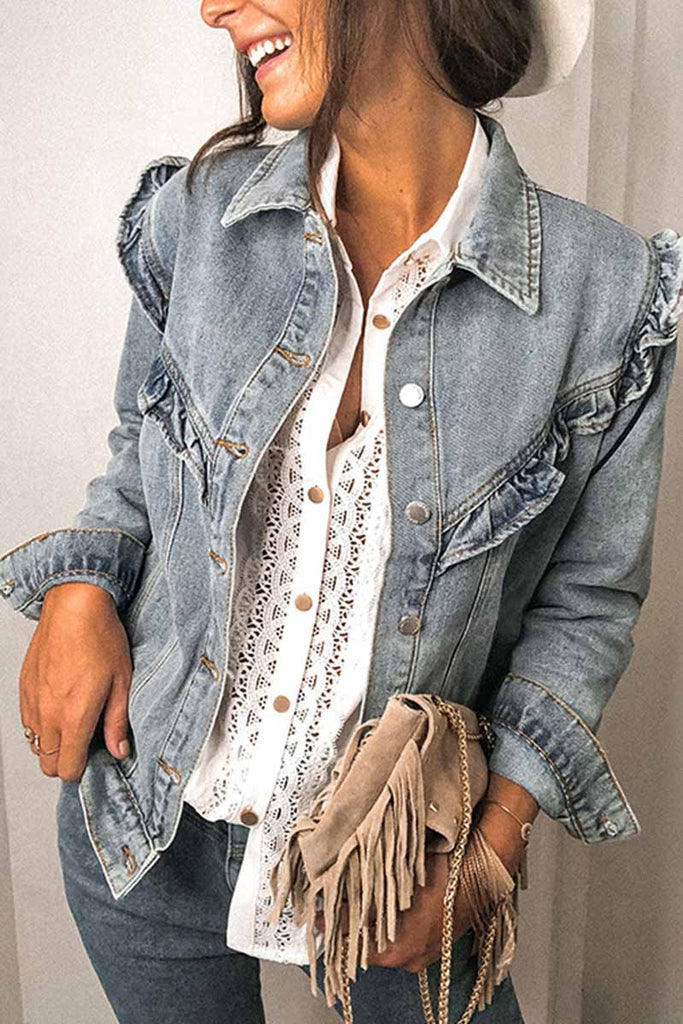 Florcoo Loose Ruffled Denim Jacket