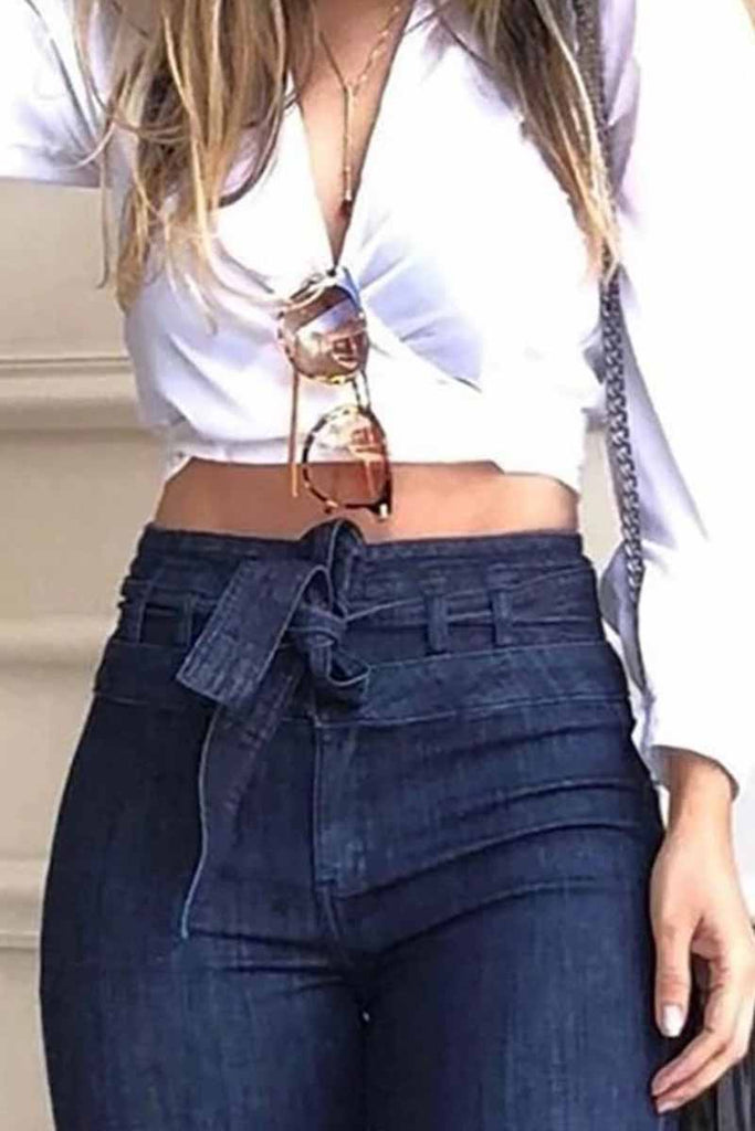 Florcoo Denim High Waist Bell-Bottom Jeans