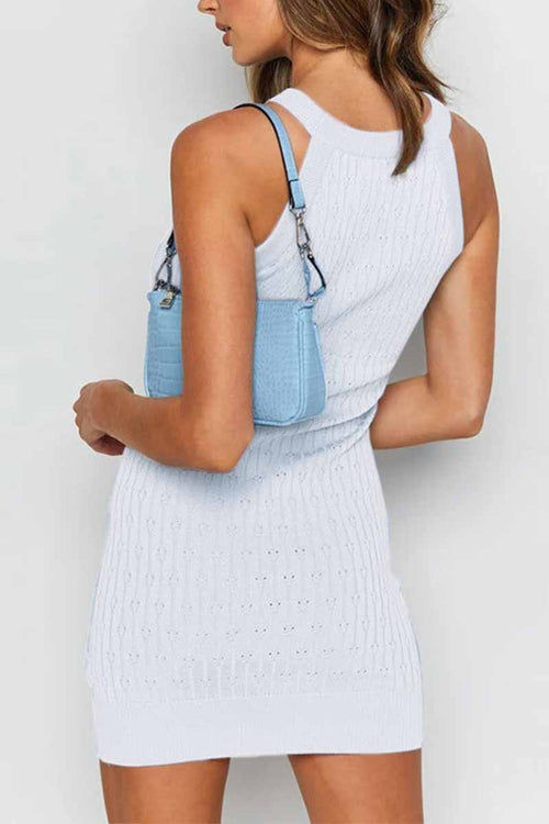 Florcoo Sexy Solid Color Sleeveless Striped Knitted Bag Hip Mini Dress