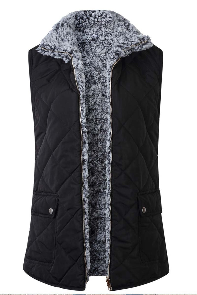 Florcoo Zippered Two-faced Pocket Jacket Vest(3 Colors)