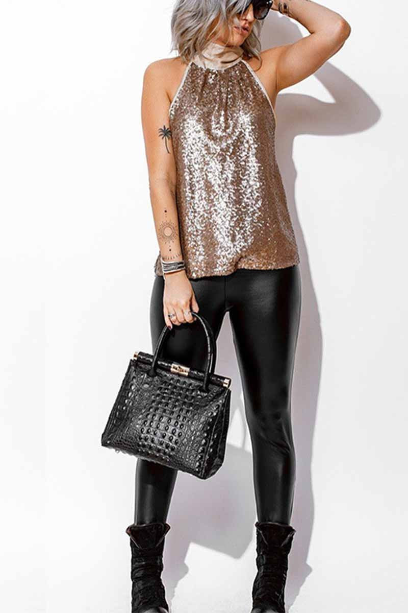 Florcoo Halter Sexy Sequined Vest Tops