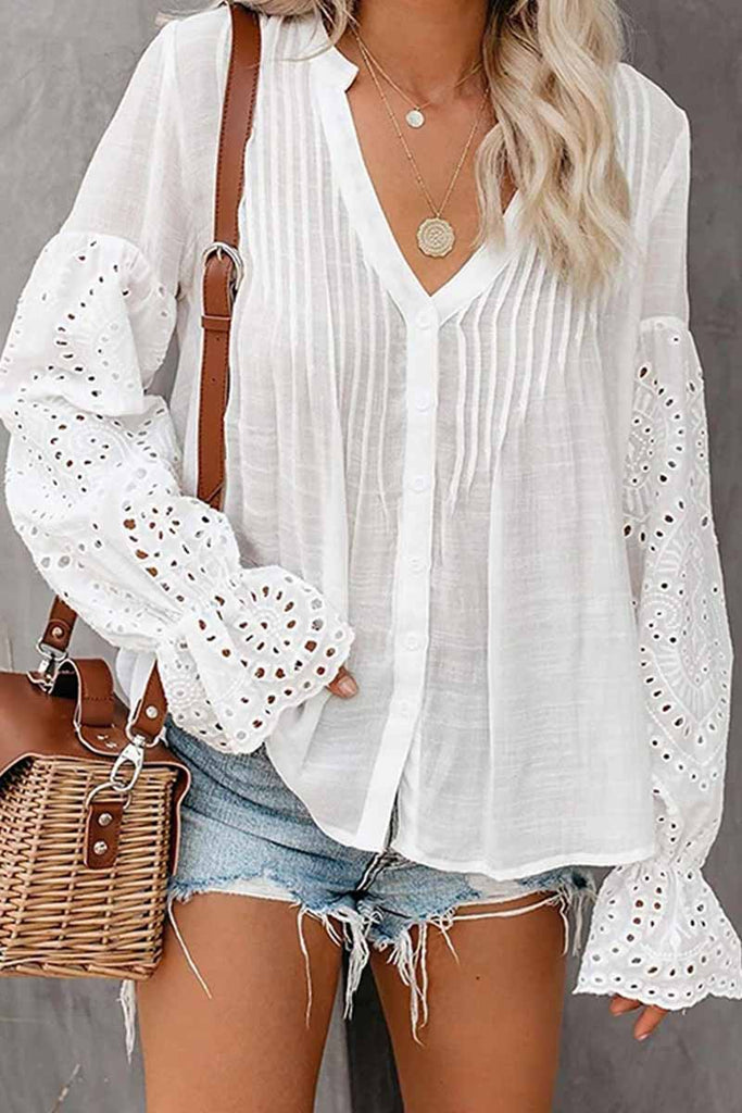 Florcoo V-Neck Single Breasted Loose Flared Long Sleeves Tops (3 Color)