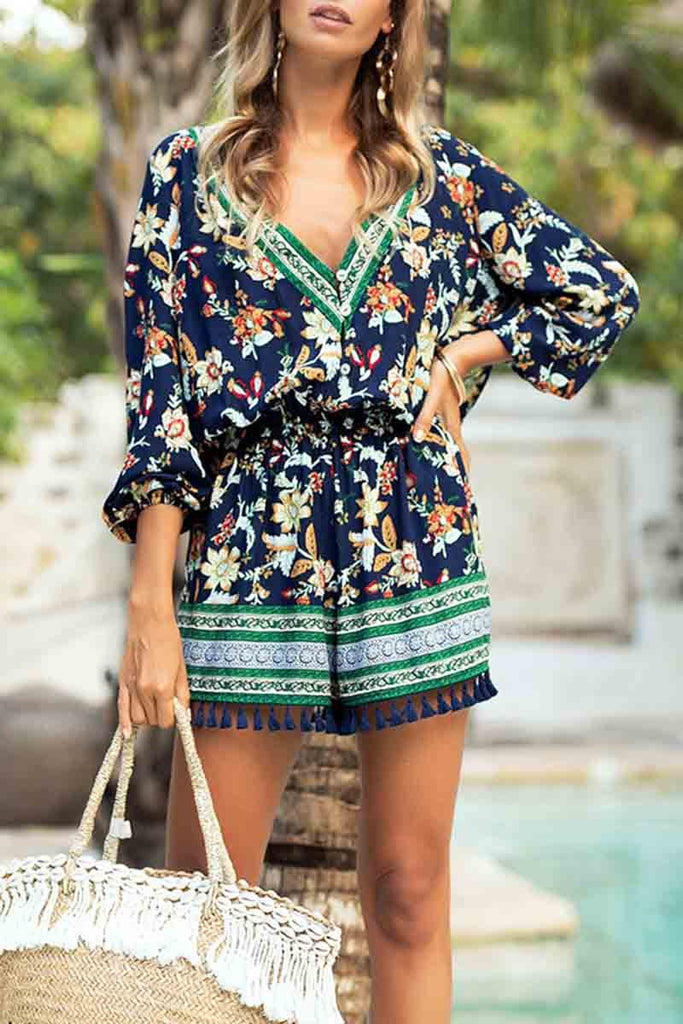 Florcoo Floral Fringed Casual Jumpsuit
