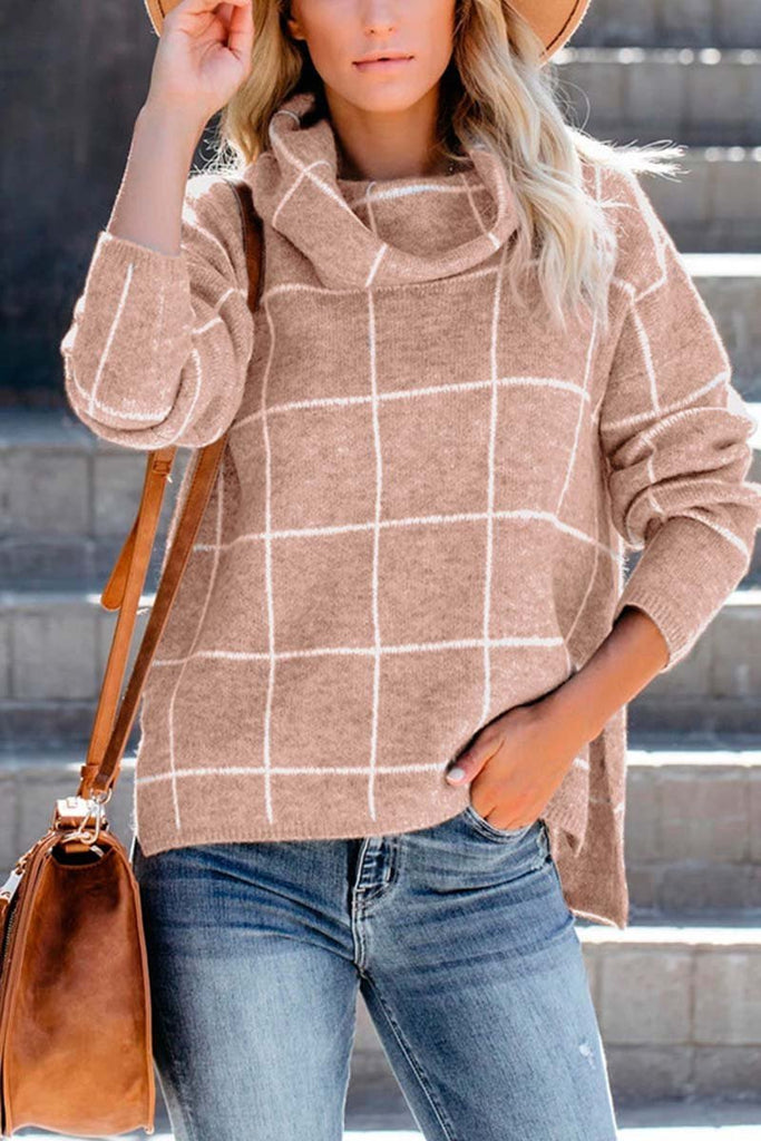 Florcoo Turtleneck Plaid Sweater