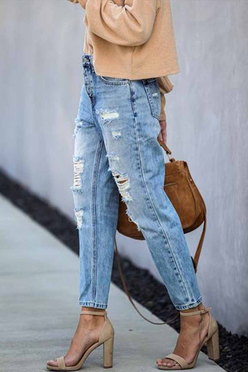 Florcoo Mid Waist Ripped Jeans