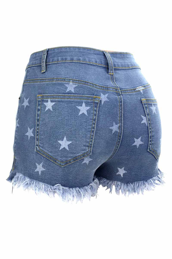 Florcoo Cute Star Denim Shorts