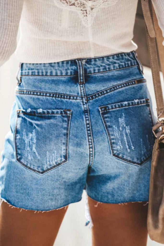 Florcoo Hole button Denim Shorts