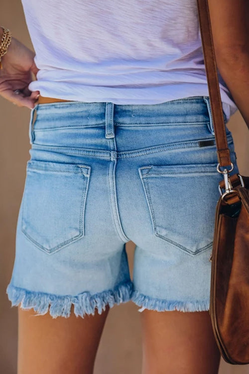 Florcoo Ripped Fringed Solid Denim Shorts