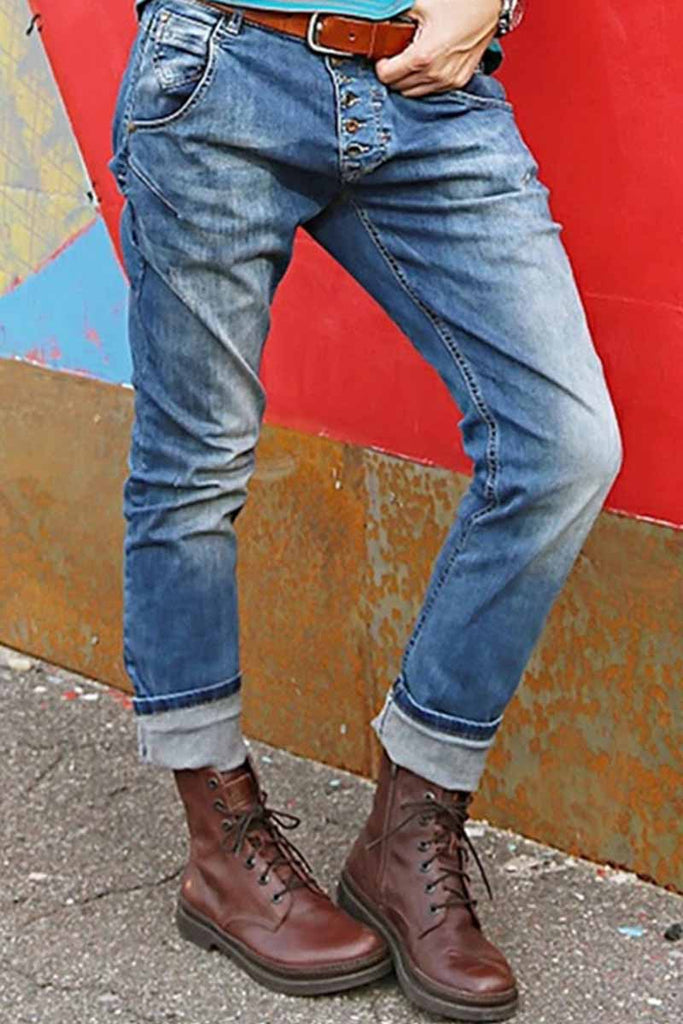 Florcoo Regular Waist Loose Blue Jeans