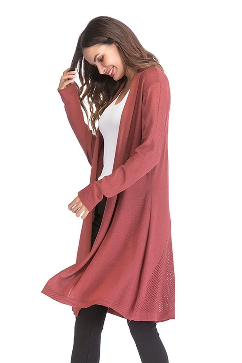 Florcoo Casual Kintted Long Shirt Coat