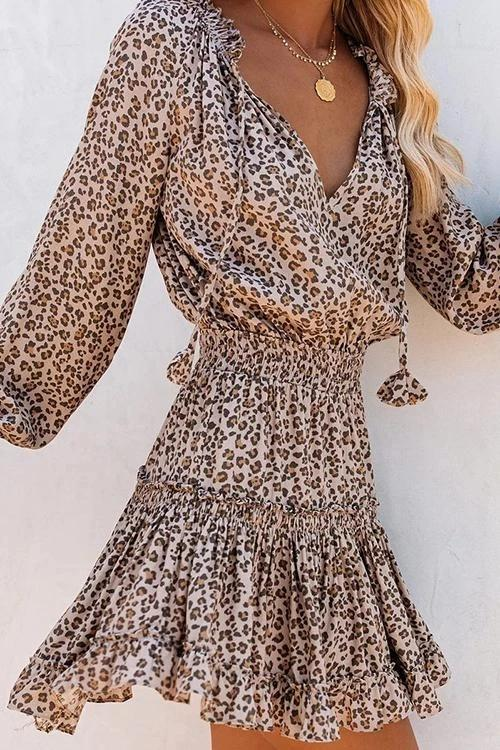 Florcoo Ruffled Leopard Print Mini Dress