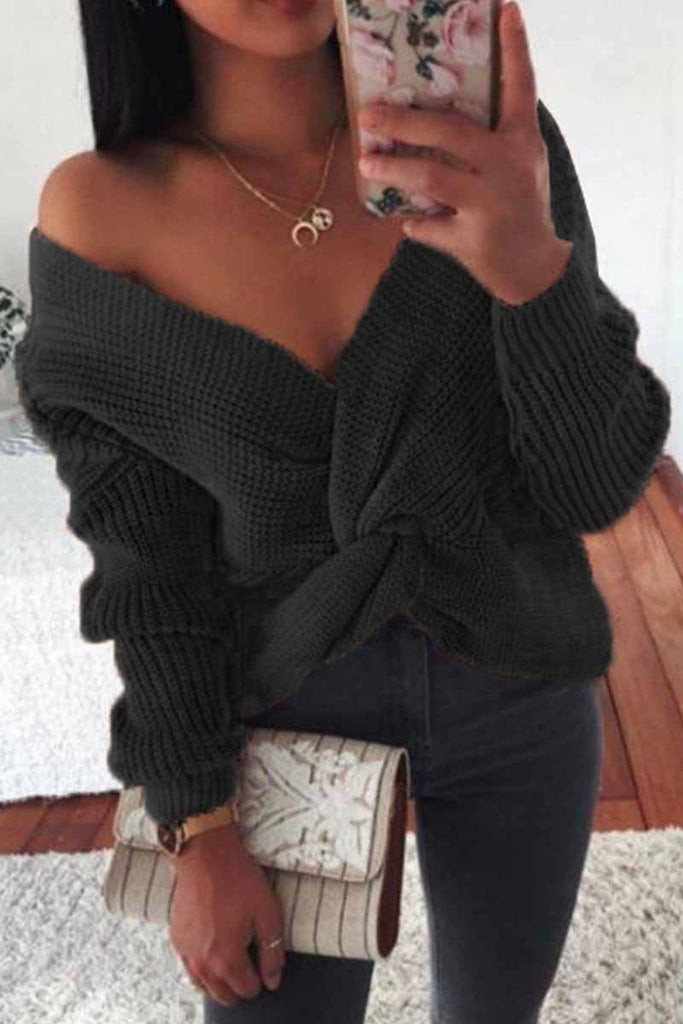 Florcoo Sexy Strapless Knotted Sweater
