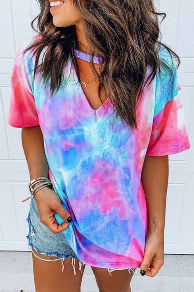 Florcoo Round Neck Tie-dye Loose T-shirt