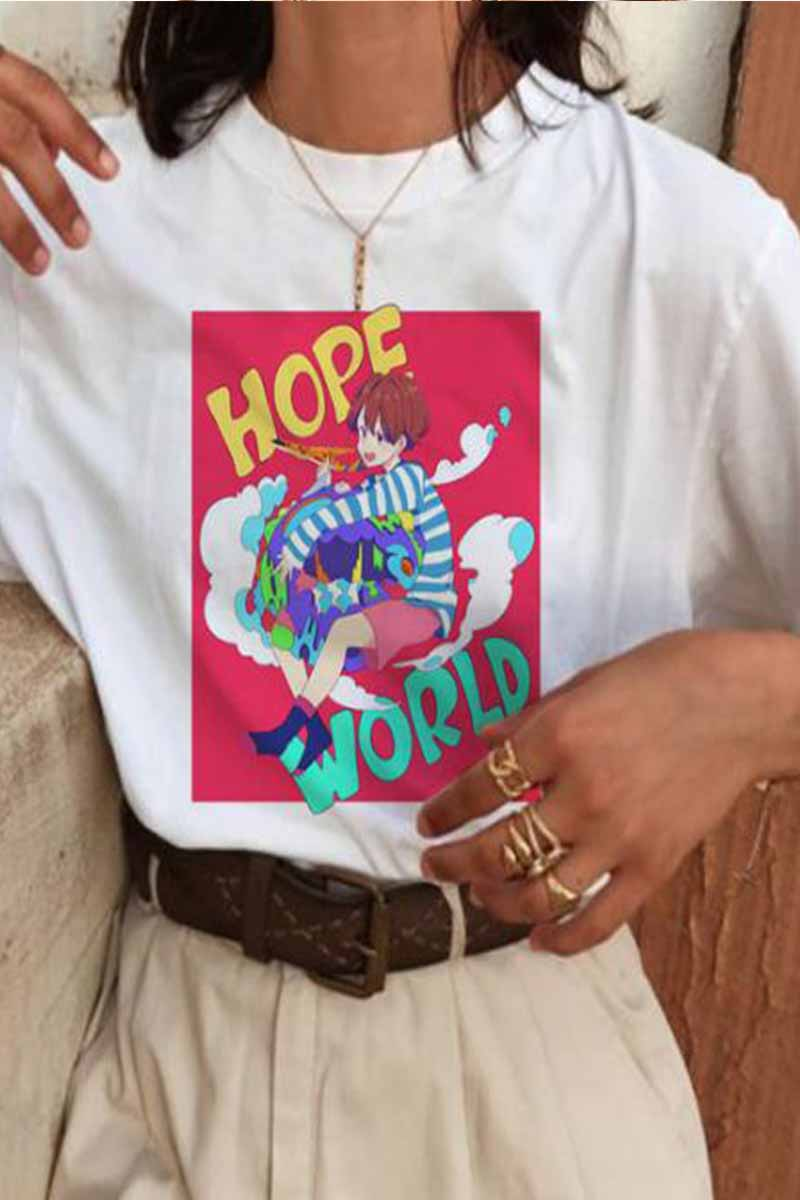 Florcoo Cute Colorful Letters Print Short Sleeve Tops