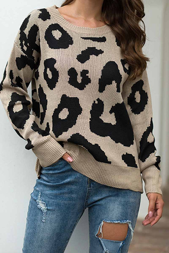 Florcoo Loose Style Leopard Sweater