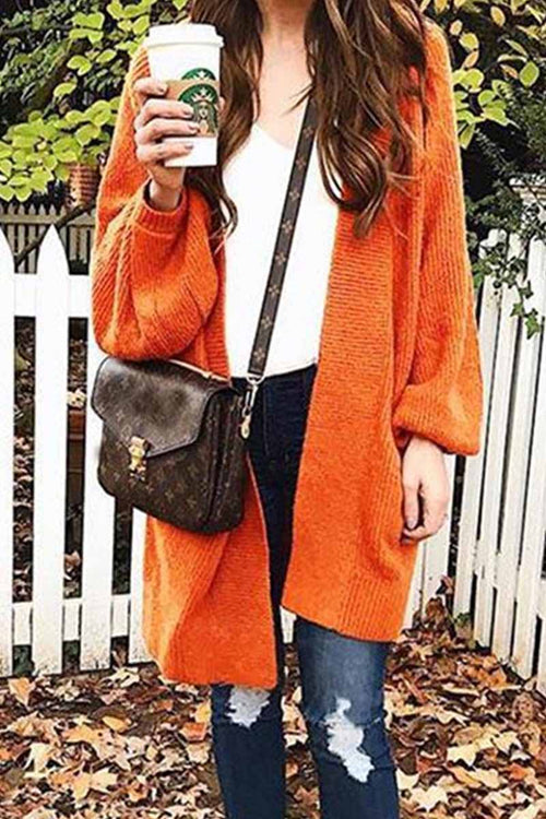 Florcoo Loose Long Orange Cardigan