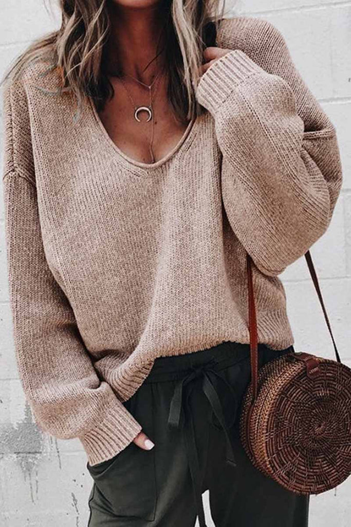 Florcoo Loose V Neck Solid Sweater