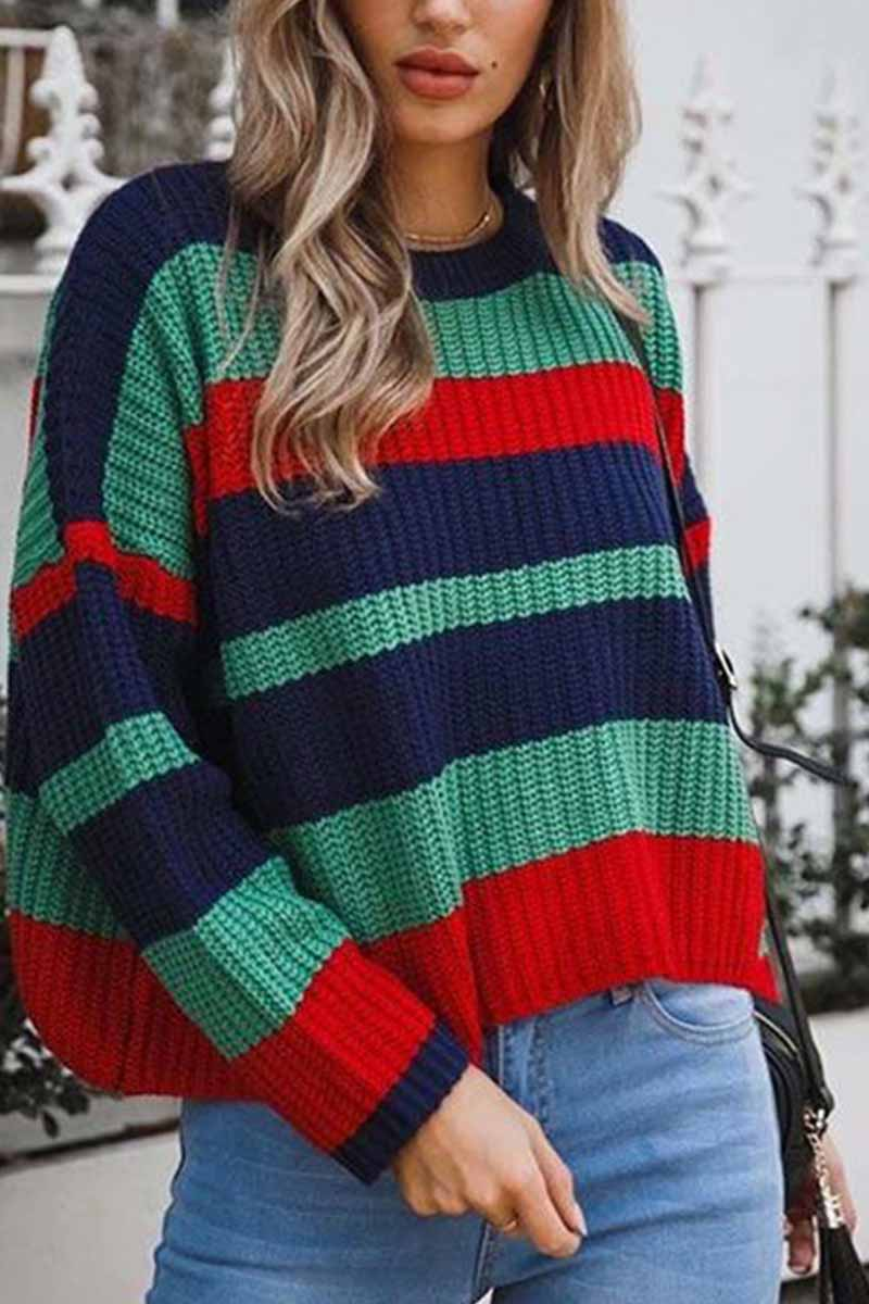 Florcoo Round Neck Loose Knit Sweater