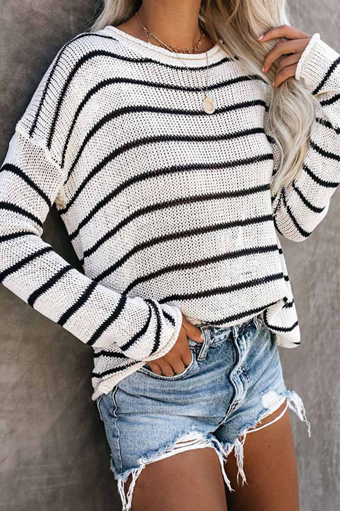 Florcoo Loose grid Round Neck Sweater