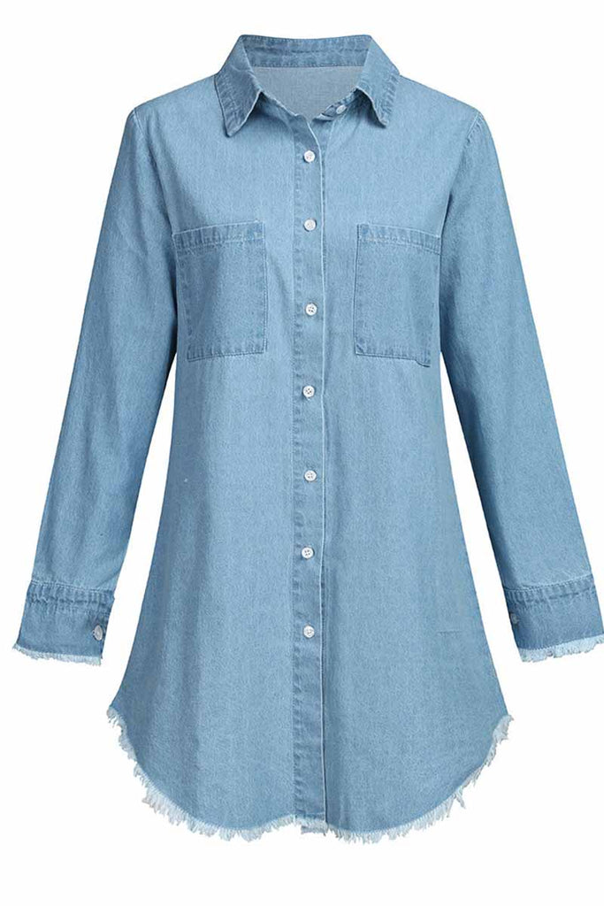 Florcoo Loose Button Design 4 Colors Denim Dress