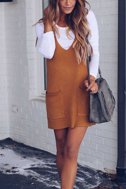 Florcoo Loose Solid Sweater Dresses