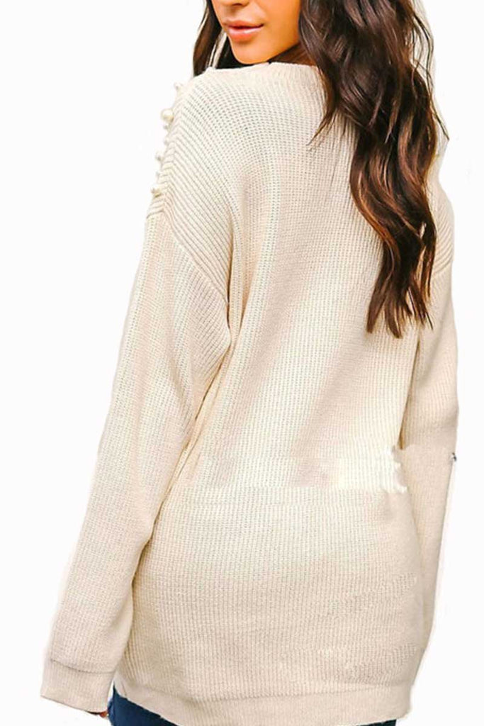 Florcoo Solid V Neck Knit Sweater