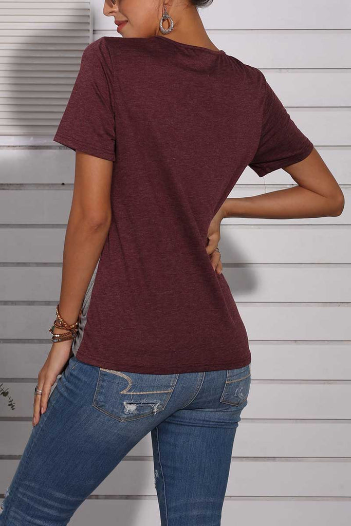 Florcoo Wine Red Leopard T-shirt