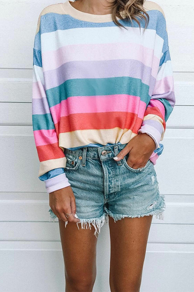 Florcoo Striped Tops Round Neck Long Sleeve Tops