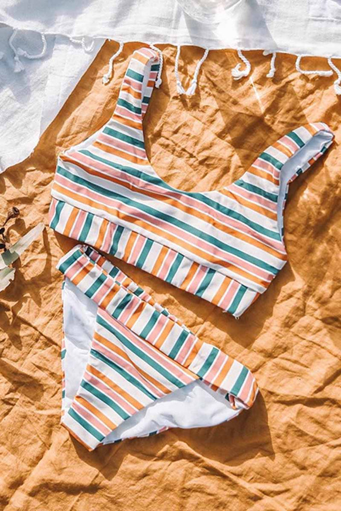 Florcoo Striped Sexy Bikini Set