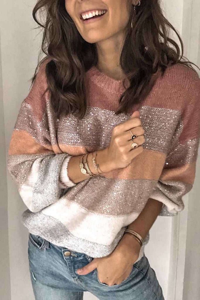 Florcoo Loose Sequins Sweater