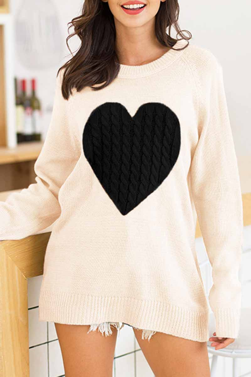 Florcoo Loose Heart Shaped Sweater (3 Colors)