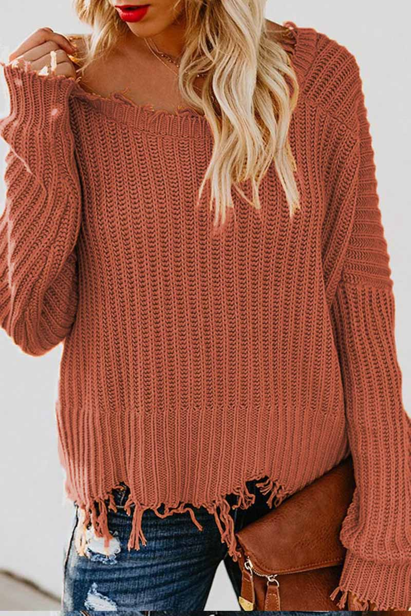 Florcoo V Neck Winter Knit Sweater 3 colors