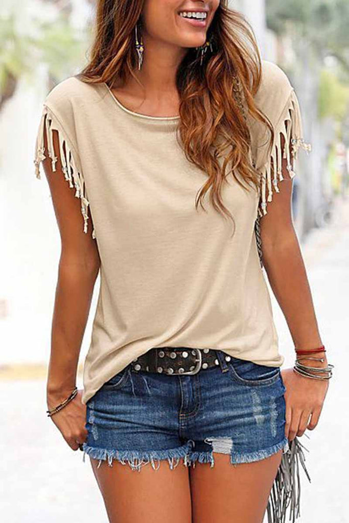 Florcoo Short-sleeve Loose Tassel T-shirt(3 Colors)