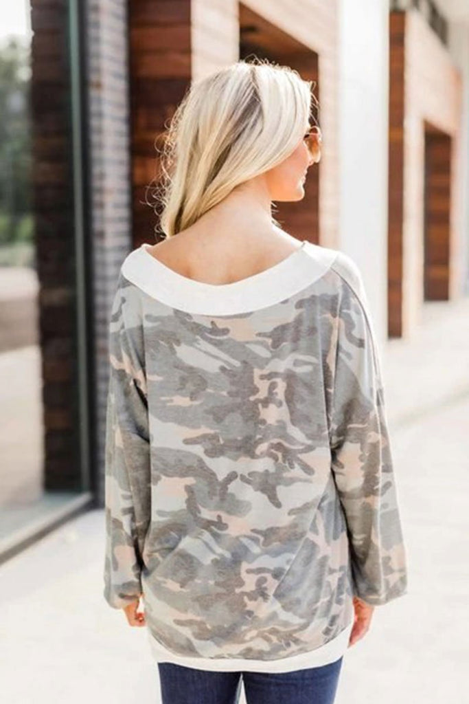 Florcoo V-neck Leopard Camouflage Loose Top