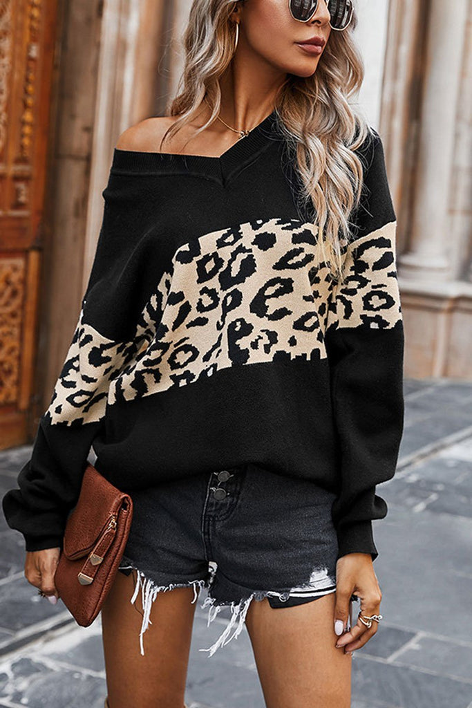 Florcoo Leopard Splice Contrast V-neck Sweater