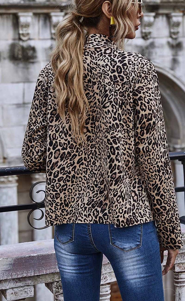 Florcoo Temperament Leopard Print Lapel Jacket