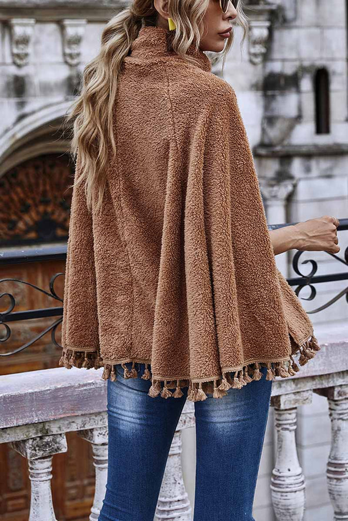 Florcoo Loose High Neck Cape Coat With Fringed
