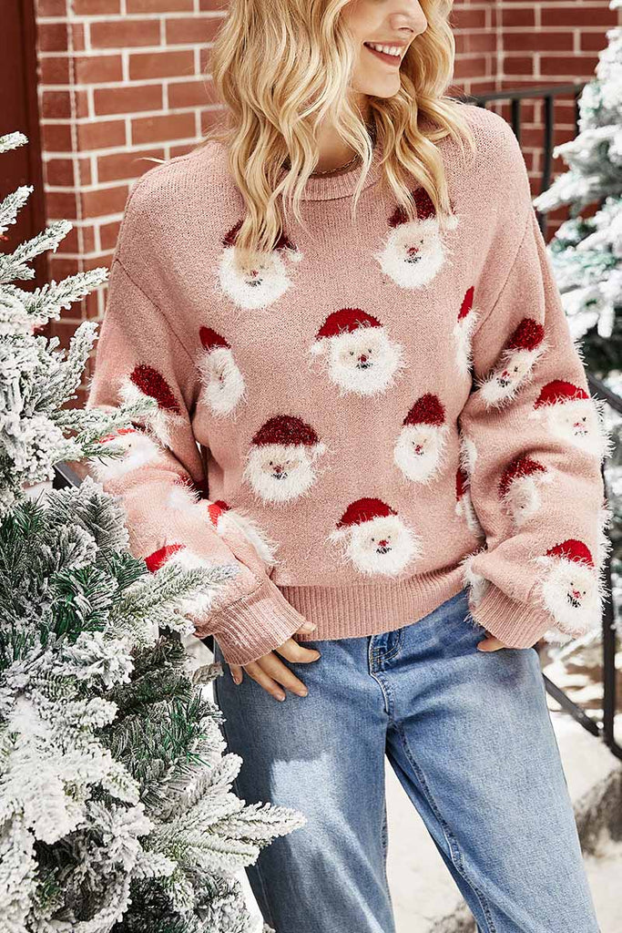 Florcoo Casual Loose Round Neck Santa Sweater