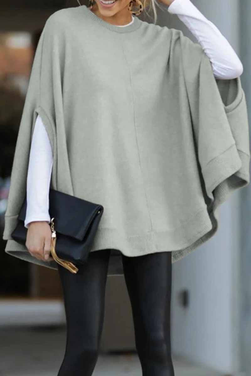 Florcoo Cape Loose Crew Neck Tops