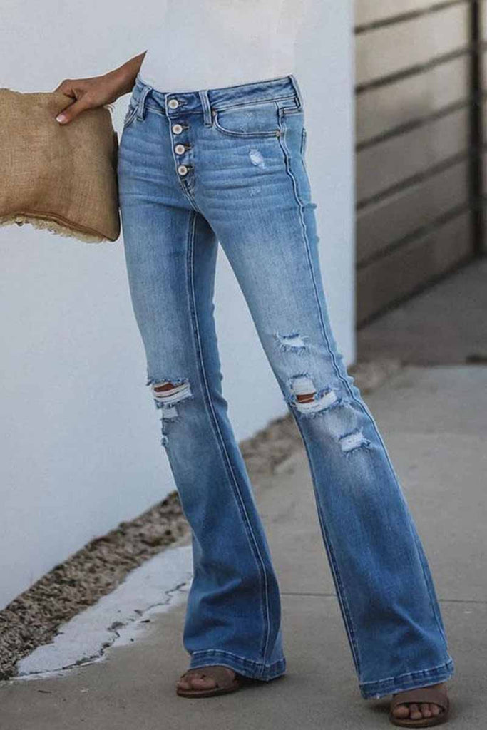 Florcoo Mid Rise Button Front Flare Denim Jeans