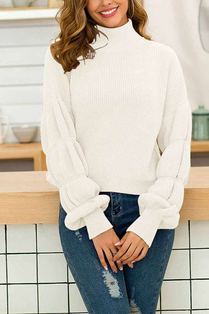 Florcoo Loose High Neck Ruffled Sweater